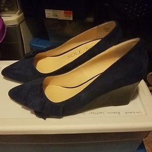 Wedge navy blue heels  6 1/2